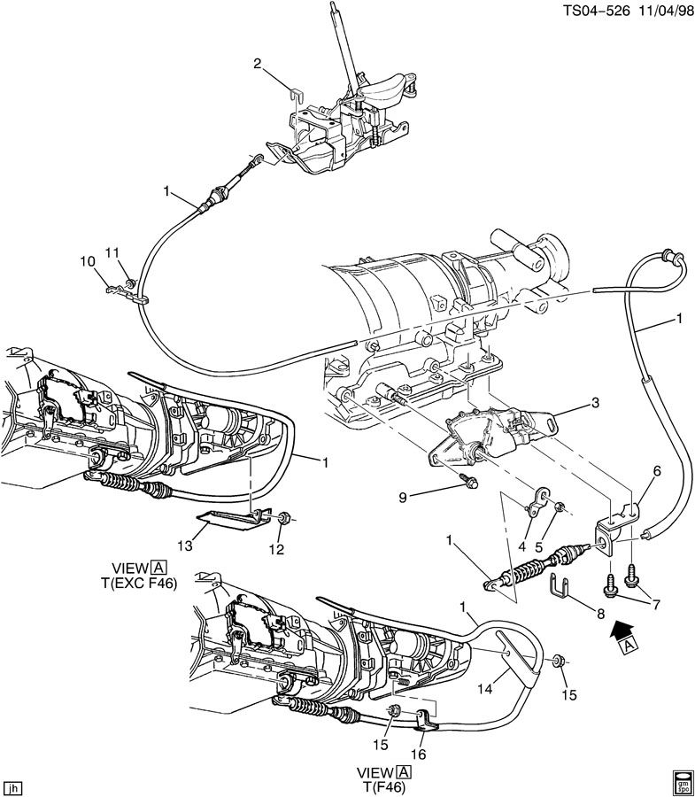 shift control cable mounting  automatic transmission