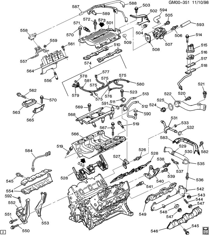 engine asm-3.1l v6 part 5 manifolds & fuel related parts 3 4l v6 engine gm cooling system diagram diagram of 3 4l v6 engine #10