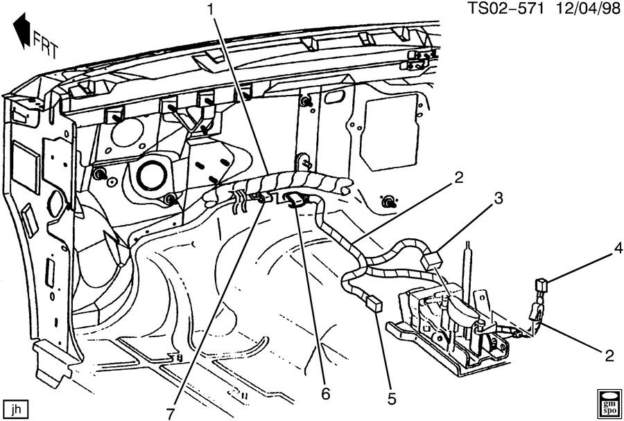 2001 oldsmobile bravada wiring harness  floor shifter