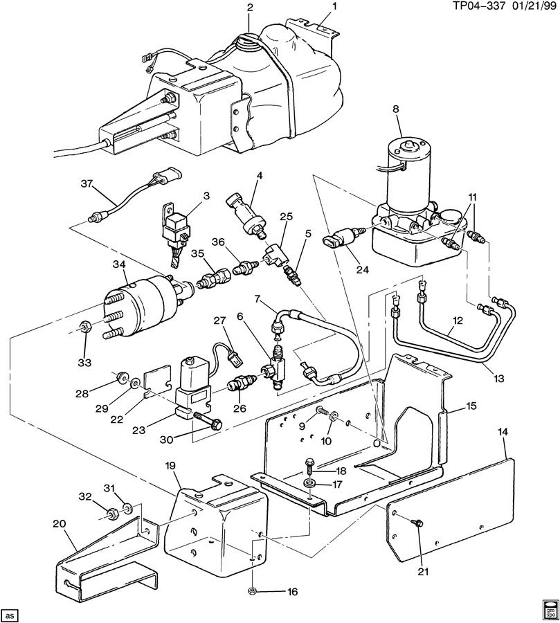 Diagram PARKING BRAKE SYSTEM-ACTUATOR ASM for your Saturn Relay