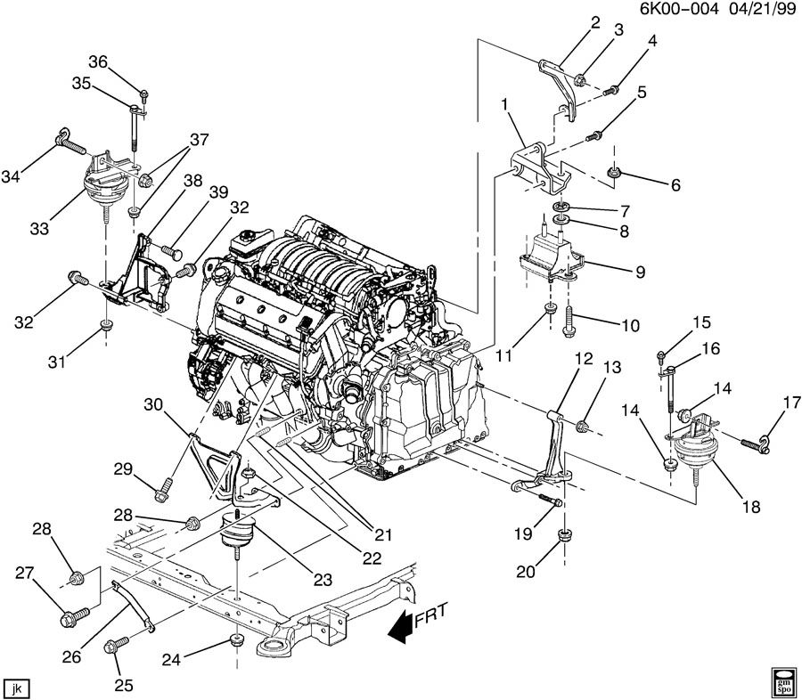 1999 Oldsmobile Aurora Camshaft: 2005 Cadillac Deville ENGINE & TRANSMISSION MOUNTING-V8
