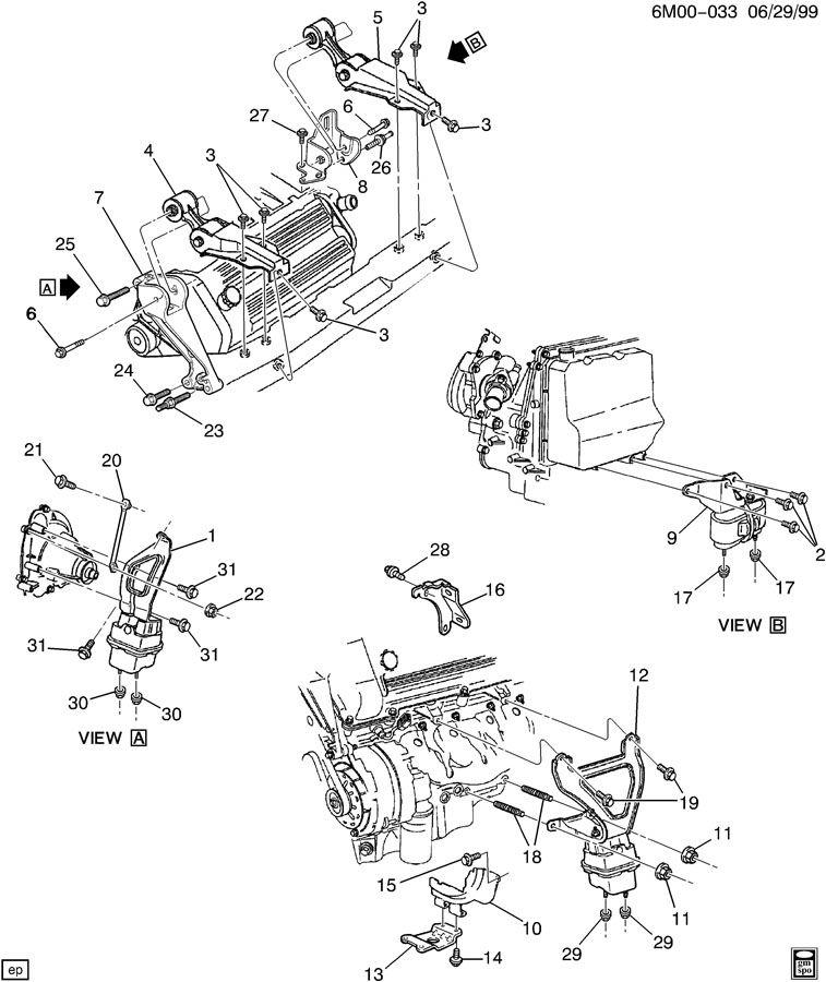 1999 cadillac eldorado engine  u0026 transmission mounting