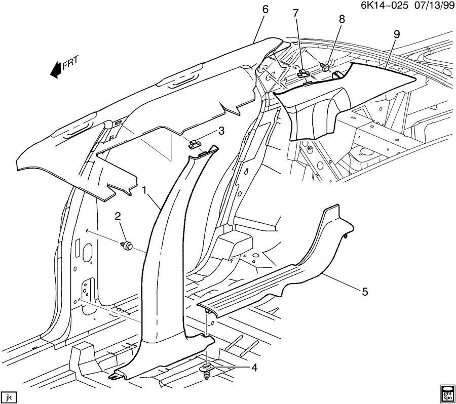 2000 Cadillac Deville Trim Center Pillar Amp Quarter