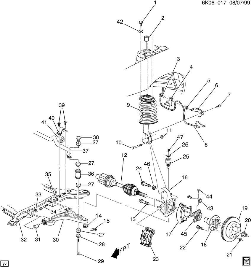 2004 Cadillac Deville Arm  Steering Knuckle Upper  U0026 Lower