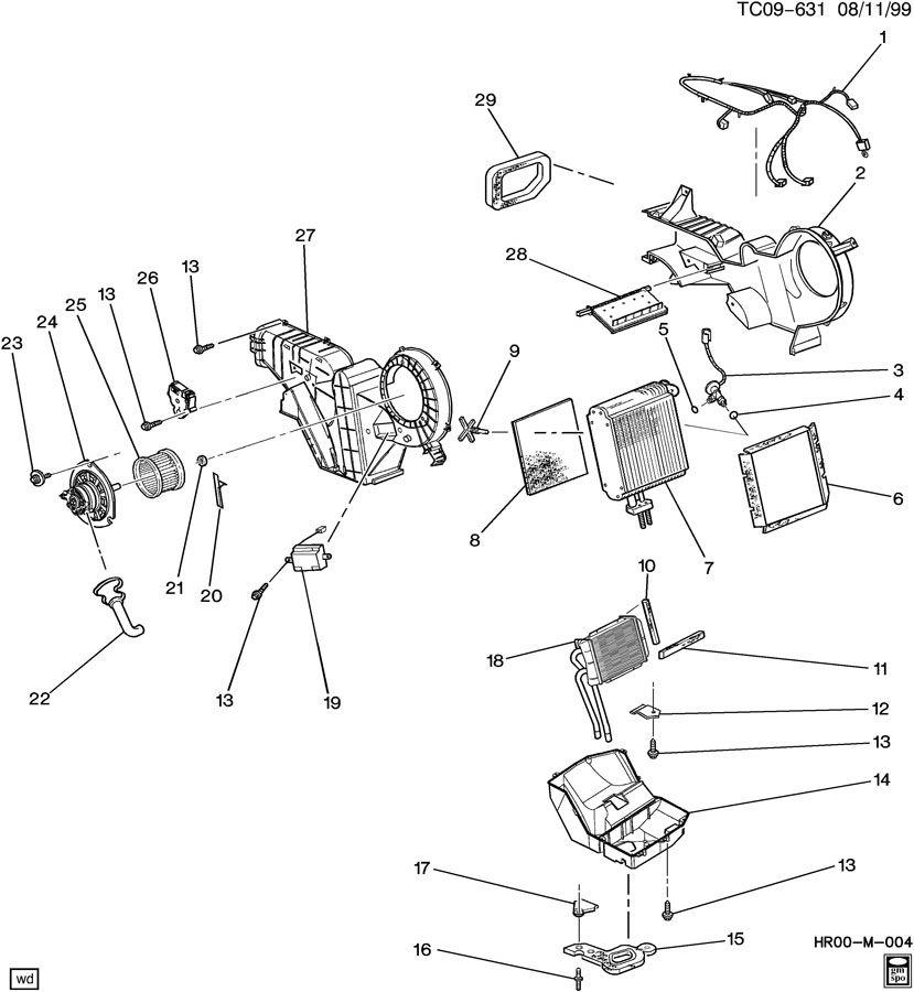 2002 chevrolet silverado auxiliary a  c evaporator  u0026 blower  u0026 heater asm