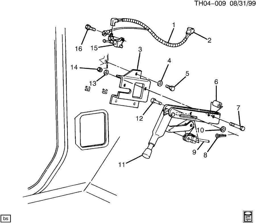 gmc c7500 parking brake lever mounting at dash  including ind lp sw  u0026 wire   u0026 je3