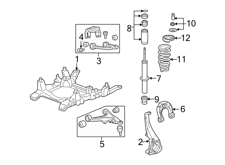 Diagram FRONT SUSPENSION. SUSPENSION COMPONENTS. for your Saturn Relay