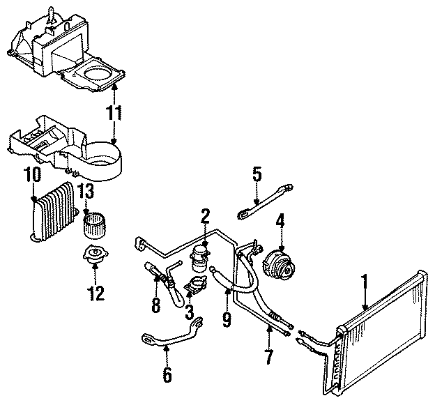 Diagram AIR CONDITIONER & HEATER. COMPRESSOR & LINES. CONDENSER. for your 1994 Chevrolet Caprice Base Wagon