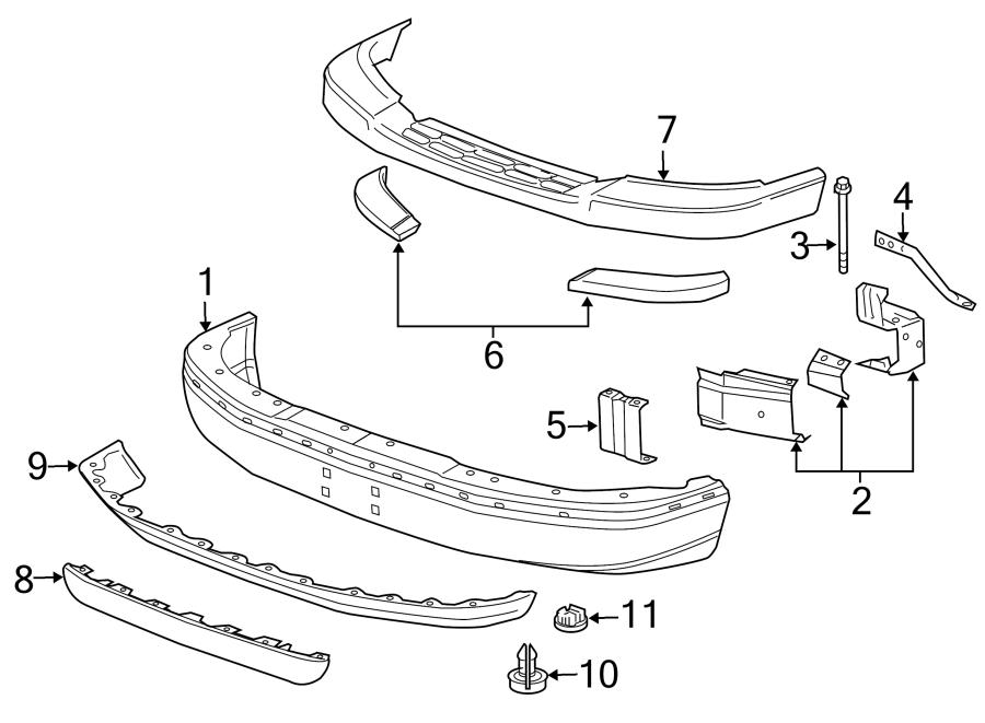 25730121 - gm support  bumper  fascia  support  frt bpr fascia