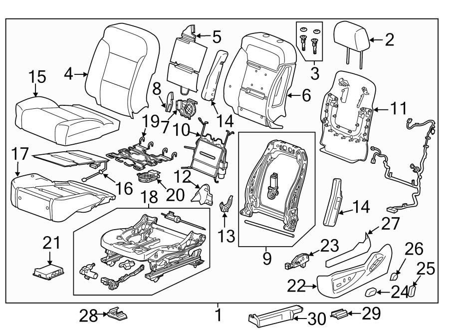 2015 Chevrolet Tahoe Ltz 4wd Cover  Seat Adjuster  Recliner